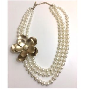 Jewelry - Large Gold Flower & 3 Strand Pearl Necklace